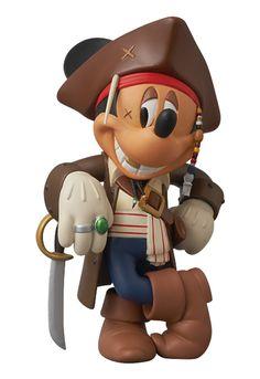 mickey mouse as capt. jack sparrow figurine from medicom
