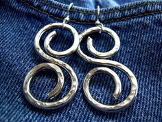 Hammered Silver Earrings Wire Wrapped Jewelry Handmade Chunky Earrings  Aluminum Jewelry Aluminum Earrings Clip On Avail. via Etsy