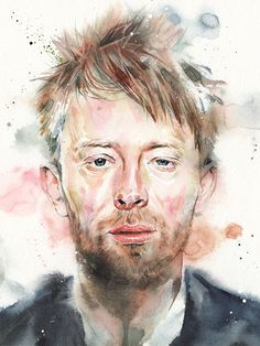 Illustration - Thom Yorke Watercolor by Ricardo Drumond
