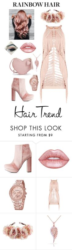 """Untitled #142"" by jaythepanda19 ❤ liked on Polyvore featuring beauty, Charlotte Russe, Lime Crime, Hervé Léger, Rock 'N Rose, Kobelli, hairtrend and rainbowhair"