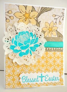 Handmade Easter Card Pale Yellow Blue Aqua Pearls by stephanieh02, $3.75
