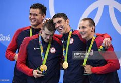 Rio , Brazil - 7 August 2016; Team USA, from left, Nathan Adrian, Ryan Held…