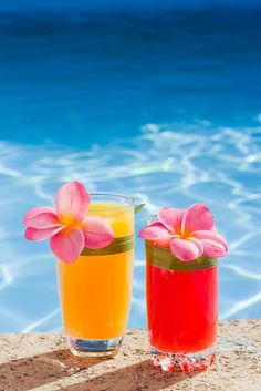 Tropical drinks and Plumeria...makes me think of Hawaii...
