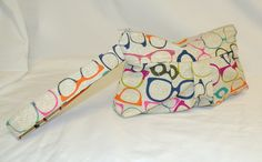 Pleated Wristlet in Funky Eyeglasses Print by bagsbystacey on Etsy