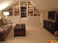 Bonus room built in shelving. http://www.mancavegenius.org/