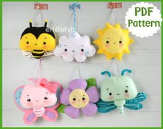 PDF PATTERN: Set of 6 Bee and sun, Butterfly and flower, Dragonfly and Cloud. Baby Mobile Ideas, Nursery Deco PDF Pattern Set of 6 Bee and sun Butterfly and flower Felt Animal Patterns, Stuffed Animal Patterns, Little Presents, Baby Mobile, Plush Pattern, Felt Baby, Felt Toys, Felt Ornaments, Felt Animals