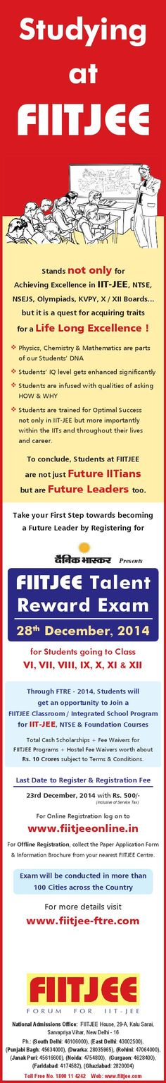 #FTRE2014 Secure your child's future with Scholarships + Fee Waivers + hostel fee waivers worth Rs. 10 Crores https://www.linkedin.com/today/post/article/20141130204825-67643259--ftre2014-is-here-sunday-28-december-2014