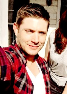 Jensen selfie closeup//instagram (tracypearl) //justjensenanddean edit (12/5/15) - he's in PLAID on his time off! ;)