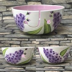 Made to order This has been hand painted, glazed and fired in a kiln, I have painted it in a lovely lilac flower design The yarn bowl is available in 21 cm diameter These can take up to 21 days to be made Any questions please ask I am based in the uk and aim to get these posted out