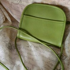 LIME GREEN CROSSBODY This small bag is real leather. EUC. It says Coach inside but not sure it is authentic.  Really nice soft leather with suede inside. COACH ? Bags Crossbody Bags