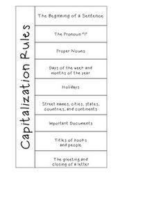 Capitalization Worksheet 10 sentences with capitalization errors ...