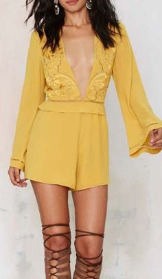 Nasty Gal Here Comes the Sun Plunging Romper