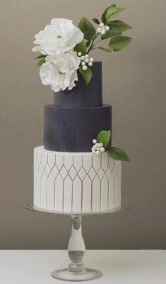 3 tier wedding cake • whiteand navy • white peony sugar flowers and greenery • metallic painted