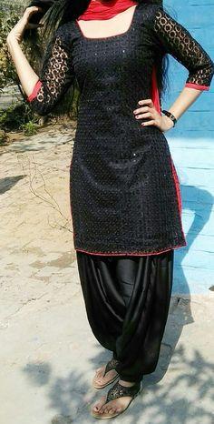 Black suit #apy Salwar Suit Neck Designs, Kurta Designs Women, Salwar Designs, Kurti Designs Party Wear, Patiala Dress, Punjabi Dress, Punjabi Suits, Patiala Salwar, Anarkali Dress