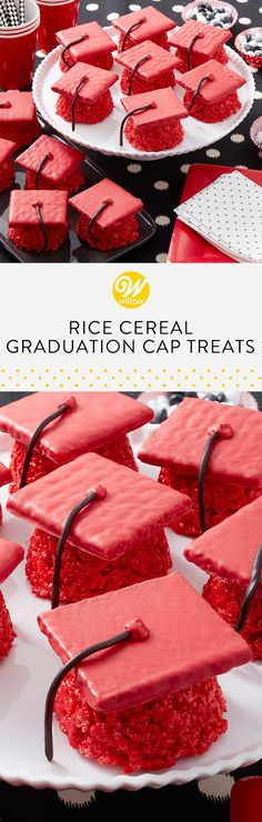Celebrate your graduate with these Rice Cereal Graduation Cap Treats! Customize these sweet treats to match your students school colors! These would make the cutest party favors! Rice Crispy Treats, Krispie Treats, Rice Krispies, Graduation Desserts, Graduation Diy, Graduation Cookies, Cereal Treats, Rice Cereal, Wilton Cakes
