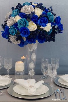 How To Create A Tall Blue Beauty Centerpiece. Join us this week as we create this Tall Blue Beauty Wedding Centerpiece! Sharhonda this ones for you! Always remember, when every penny counts, count on MissPlanIt! Silver Wedding Centerpieces, Simple Centerpieces, Wedding Reception Decorations, Wedding Ideas, Wedding Stuff, Dream Wedding, Wedding Shit, Candle Centerpieces, Wedding Themes