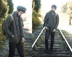 Thrifted Cardigan, Denim & Supply Floral Button Up, Mission Belt Leather Belt, Modekungen Backpack, Ambig Clothing Black Pants
