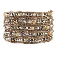 Abalone Mix Crystal Wrap Bracelet on Kansa Leather - Chan Luu