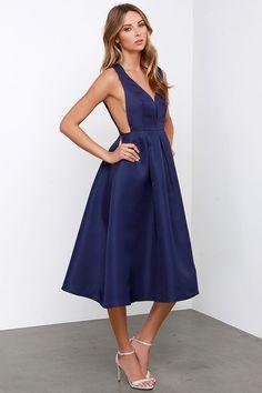 Fancy-full Navy Blue Midi Dress
