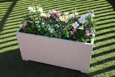 1 metre large extra tall Wooden garden Planter trough hand made in Muted Clay Decking Plant Troughs, Wooden Garden Planters, Timber Deck, Water Retention, Roots, Decking, Outdoor Decor, Plants, Clay