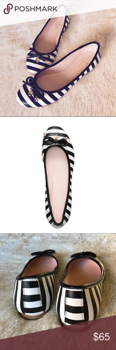 Kate Spade Willa Striped Flats Kate Spade Willa striped black and white flats. Detail: small bow and kate spade charm. Size: 7. Overall in great conditions. Will include the box. Fast shipper. Bundle two items and get 15% off. 🛍 kate spade Shoes Flats & Loafers