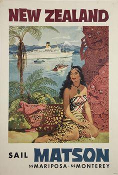 New Zealand Sail Matson Mariposa Monterey original vintage travel poster from 1955 by L. Macouillard.