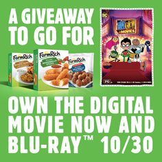 Family Dinner & a Movie Giveaway up for grabs (and Farm Rich Mozz Sticks! Ente… Family Dinner & a Movie Giveaway up for grabs (and Farm Rich Mozz Sticks! Enter now! Teen Titans Go Movie, Grilled Cheese Sticks, Tv Dinner Trays, Potato Sticks, Crispy Chicken Wings, Snack Items, Dinner And A Movie, Rich Family, Air Fryer Healthy
