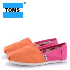 Toms Yellow And Pink Canvas Shoes