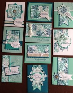 Festive flurry cards using 5 sheet wonder templates designed by LeeAnn Gref. Card class this month at my house! www.jackieross.stampinup.net