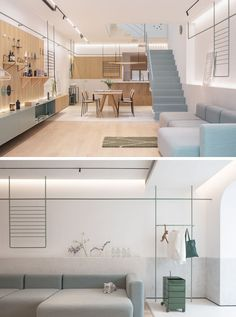 This modern house has a large couch that sits against the wall, while hidden lighting brightens and highlights a display area. #ModernLivingRoom #ModernInterior
