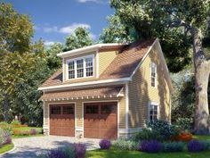 Garage apartment plans are closely related to carriage house designs. Typically, car storage with living quarters above defines an apartment garage plan. View our garage plans. 2 Car Garage Plans, Garage Plans With Loft, House Plan With Loft, Loft Plan, Garage Apartment Plans, Garage Apartments, Garage Ideas, Garage House, Carriage House Garage