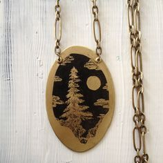 Brass Tree and Moon Necklace, Gold Night Sky Necklace, Etched Brass Pendant, Long Black and Gold Necklace, Red Fern Studio