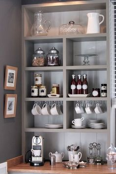 Kaffee bar Küche Ideen, wie man Kaffee-Bar zu organisieren (Diy Muebles) Capture Immortality with Albums To live many happy moments of lif. Decor, Shelves, Interior, Coffee Bar Home, New Homes, Home Decor, Kitchen Dining Room, Home Coffee Stations, Shelving