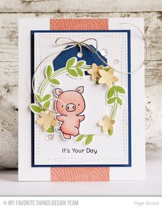 Hog Heaven stamp set & Die-anmics, Spring Wreath stamp set & Die-namics, Wonky Stitched Rectangle STAX Die-namics, Tag Builder Blueprints 2 Die-namics - Inge Groot #mftstamps
