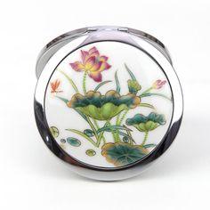 ceramic cosmetic Folding Make-up mirror Lotus hand-painted