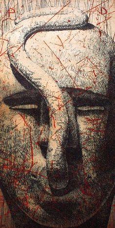 PD (Profundo dolor) 1998 Serie: Las máscaras de Arriaza Aguafuerte 2 planchas de cobre 17x9 cm. Papel Michel 300 gr. 38x27,5 cm.  Edición 30 ejemplares. Editada por: Taller de Pradillo, Madrid — en Madrid 1998.