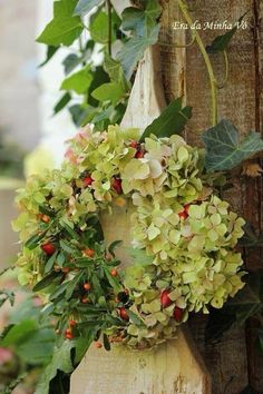 Autumn. Hydrangea heads and berries in a greenhouse.