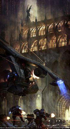 Breathtaking digital paintings by Marcin Jakubowski : Warhammer 40K elysian drop troops