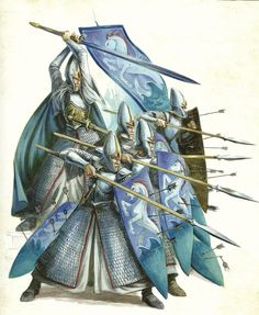 High Elf Spearmen of Ellyrion defend themselves Elves Fantasy, Fantasy Heroes, Fantasy Battle, Fantasy Races, Fantasy Armor, Fantasy Weapons, Medieval Fantasy, Fantasy World, Fantasy Characters