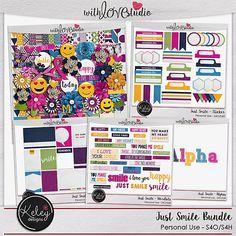 Just Smile Bundle Just Smile | Kit Full Just Smile | Alphas Just Smile  | Journal Cards Just Smile |  Stickers Just Smile |  Wordbits