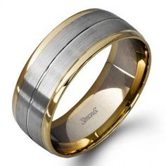 f27160491aa Simon G. Two-Tone Rose and White Gold 9 MM Wedding Band With Satin and High  Polish Finish. Charisma Jewelers
