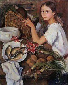 Tata with vegetables - Zinaida Serebriakova