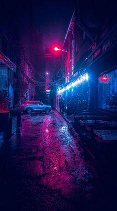 Music Wallpaper For Mobile Ideas Cyberpunk Aesthetic, Cyberpunk City, City Aesthetic, Violet Aesthetic, Urban Photography, Night Photography, Street Photography, Photography Lighting, Digital Photography