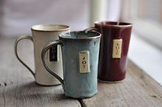 LOVE these! :: Coffee Mug Handbuilt by JustWork on Etsy
