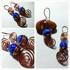 """Ocean"" Earrings realized with copper and two blue and withe stones. These earrings seem like a real ocean. For info contact me!"