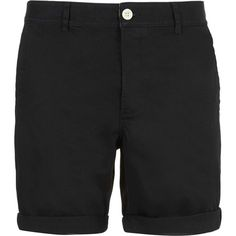 TOPMAN Black Chino Shorts ($16) ❤ liked on Polyvore featuring men's fashion, men's clothing, men's shorts, men, shorts, black, mens shorts, mens summer shorts, men's apparel and mens chino shorts