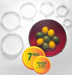 Silicone Stretch Lids (7 pack, includes EXCLUSIVE XL SIZE), Reusable, Durable and Expandable to Fit Various Sizes and Shapes of Containers. Superior for Keeping Food Fresh, Dishwasher and Freezer Safe ModFamily http://www.amazon.com/dp/B013QFYFCE/ref=cm_sw_r_pi_dp_d19Pwb04P25NY