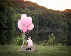 first birthday photo, sunset, girl, balloons, pink, one, outdoor, lake