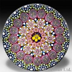 """Twist Glass Studio, Mike Hunter 2013 concentric millefiori central pansy and heart canes paperweight. Diameter 2 13/16"""". $ 400"""