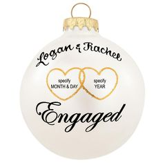 Personalized Engaged With Hearts Glass Ornament from Bronner's Christmas store of Christmas ornaments and Christmas lights Vinyl Ornaments, Clear Ornaments, Glitter Ornaments, Diy Christmas Ornaments, Christmas Balls, Christmas Decorations, Christmas Ideas, Christmas Carol, Homemade Christmas